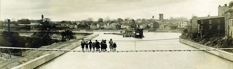 Children on Footbridge Over Erie Canal