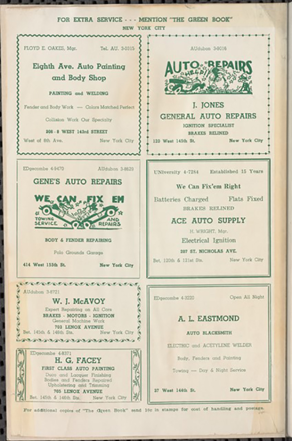 Page from the Green Book, Courtesy: New York Public Library